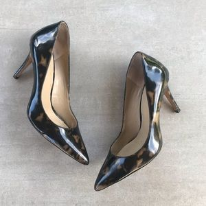 Ann Taylor Tortoise Patent Pointed Pumps